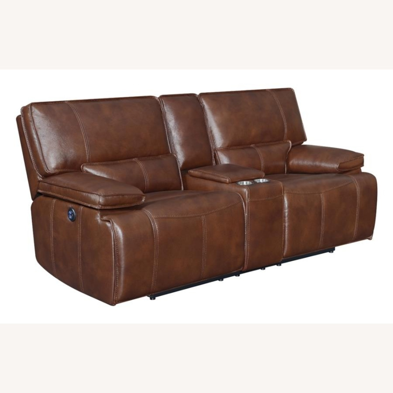 Power Loveseat In Saddle Brown W/ Console - image-0
