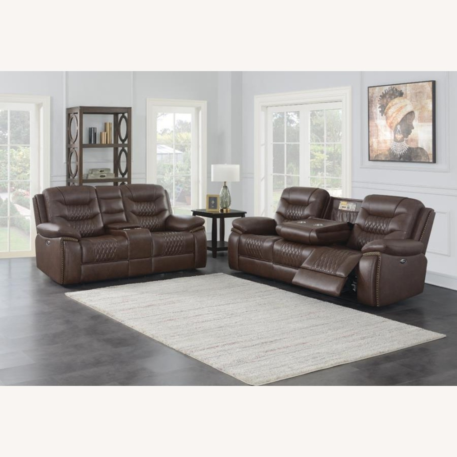 Power Loveseat In Brown Performance Leatherette - image-4