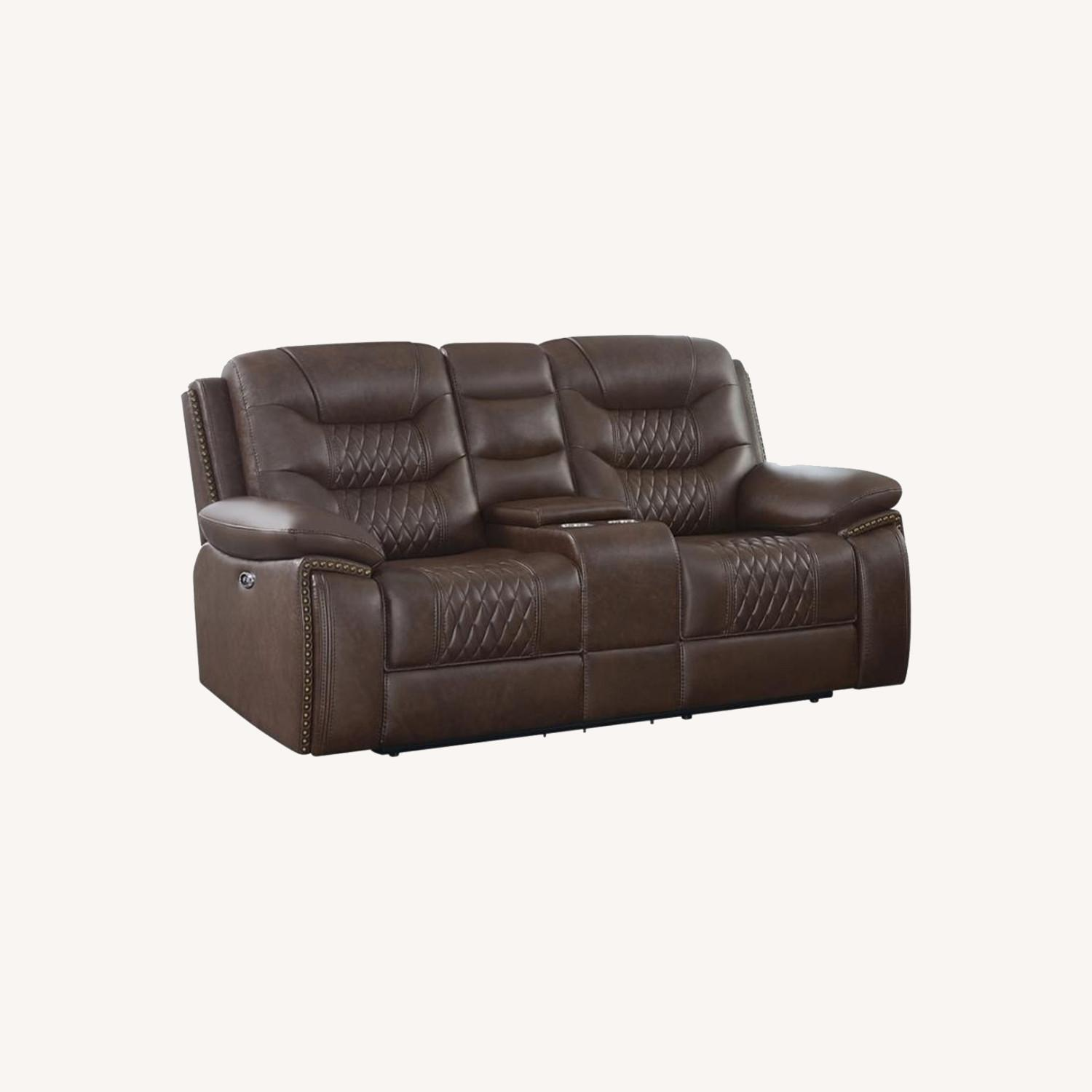 Power Loveseat In Brown Performance Leatherette - image-5