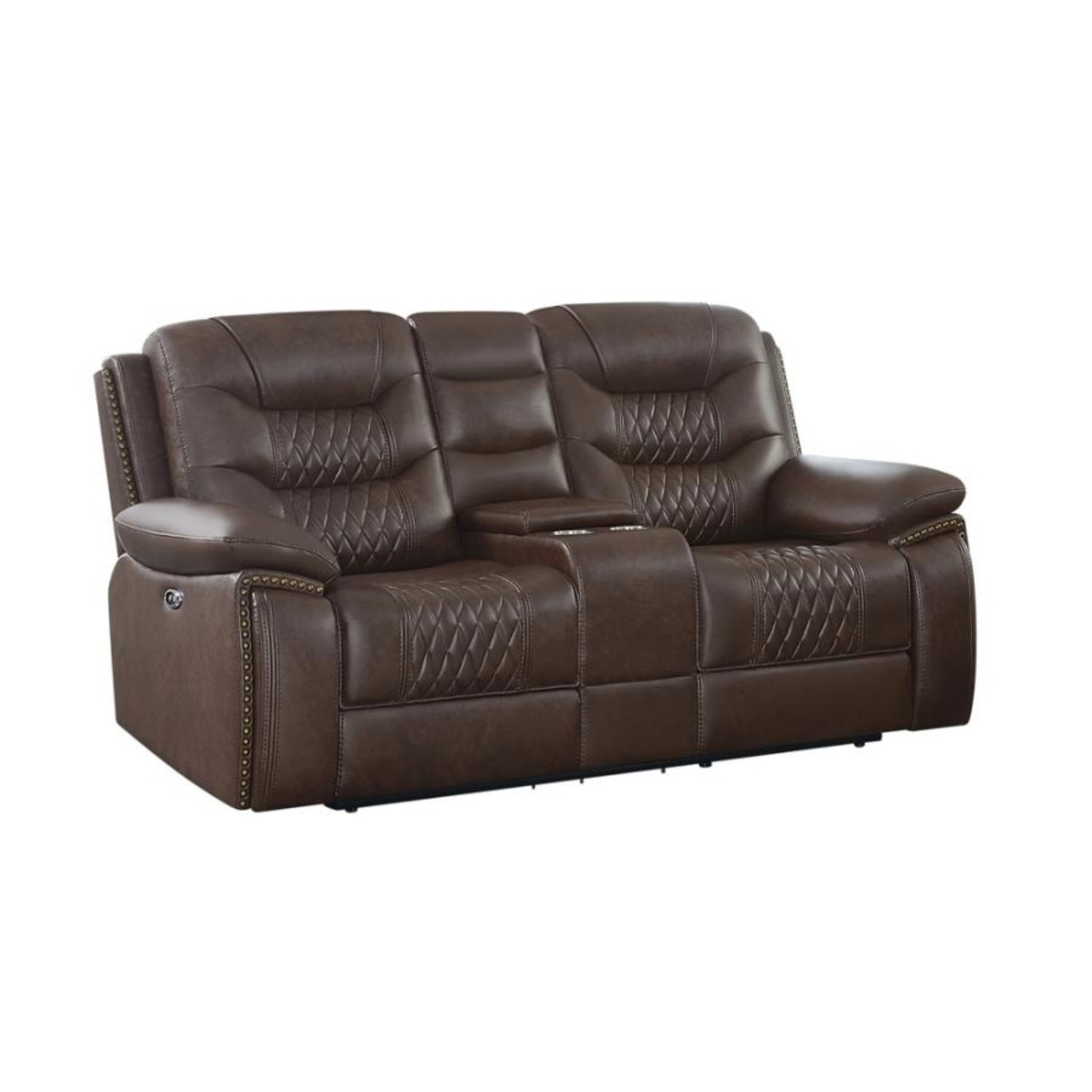 Power Loveseat In Brown Performance Leatherette - image-0