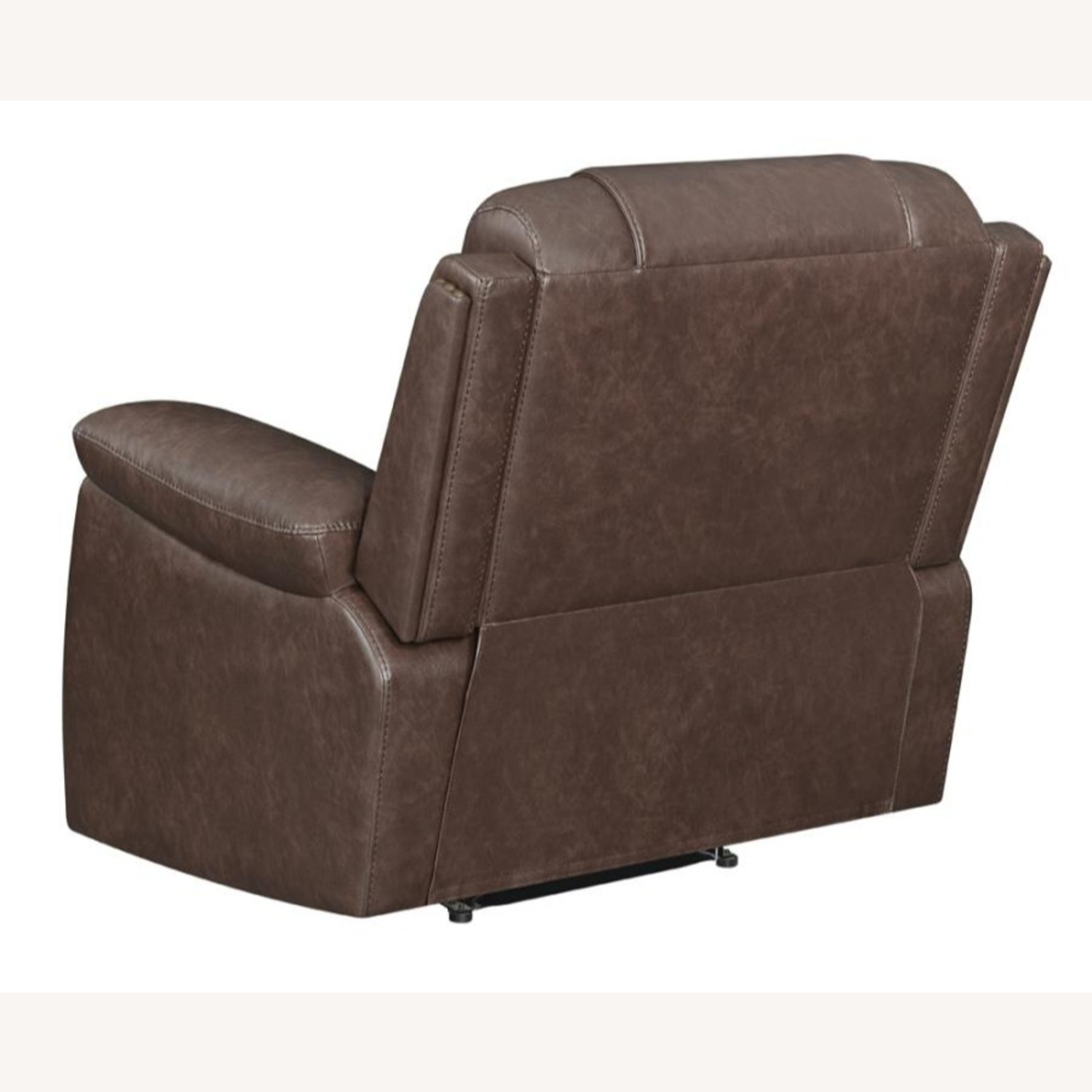 Recliner In Comfortable Brown Performance Leather - image-3