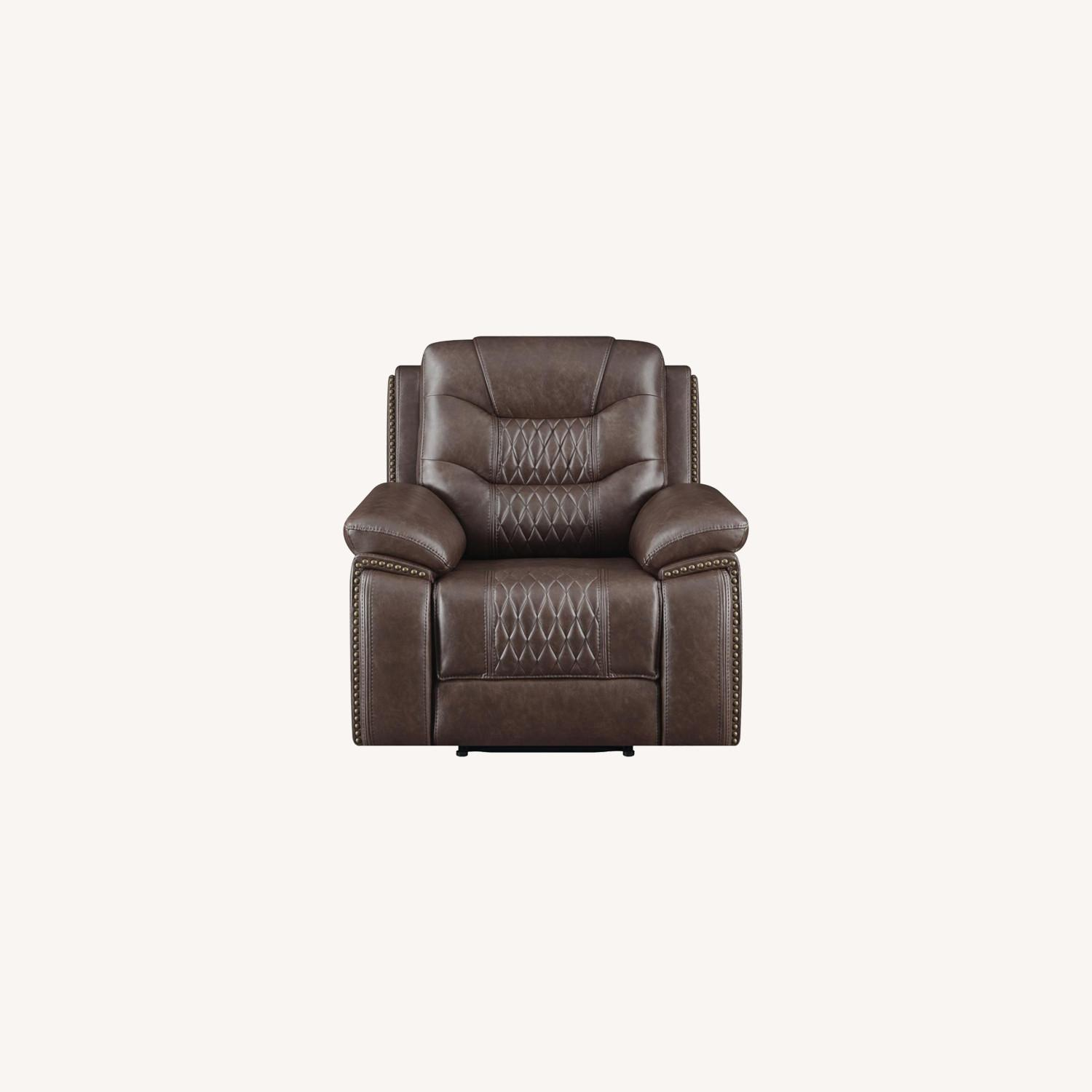 Recliner In Comfortable Brown Performance Leather - image-7