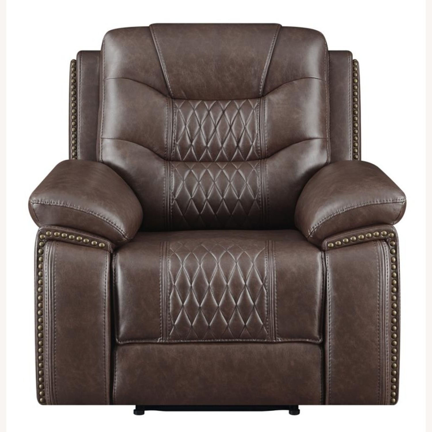 Recliner In Comfortable Brown Performance Leather - image-1