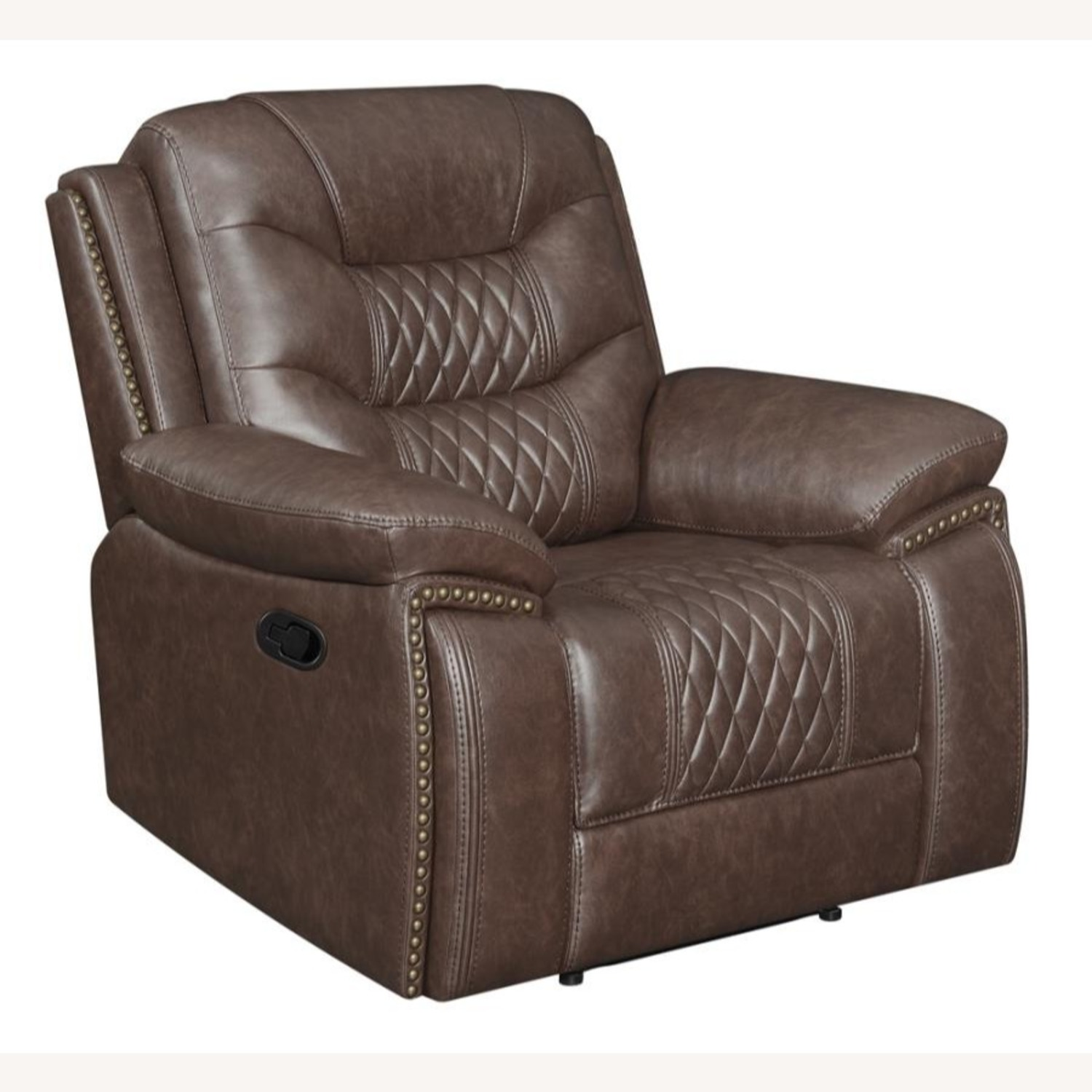 Recliner In Comfortable Brown Performance Leather - image-0