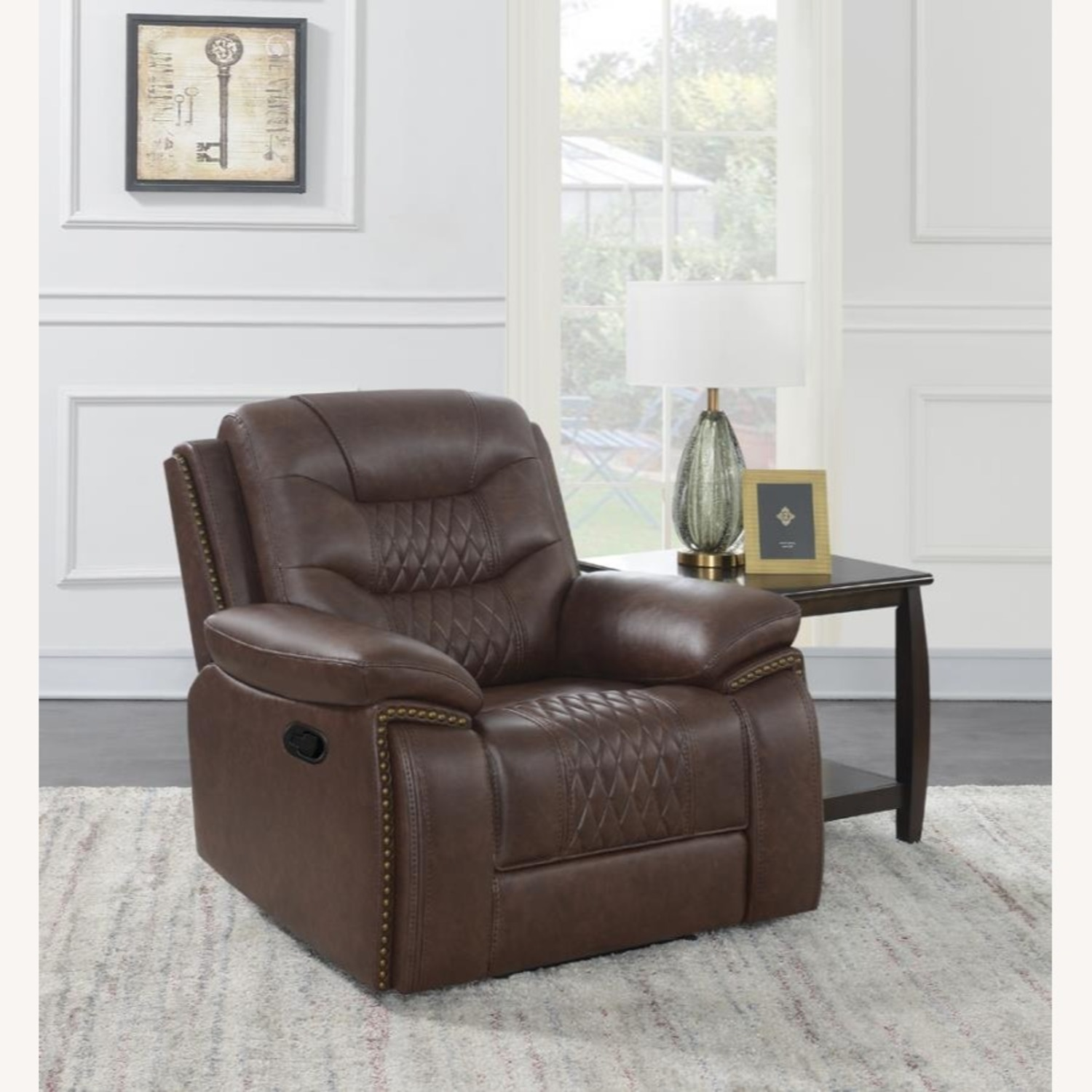 Recliner In Comfortable Brown Performance Leather - image-5