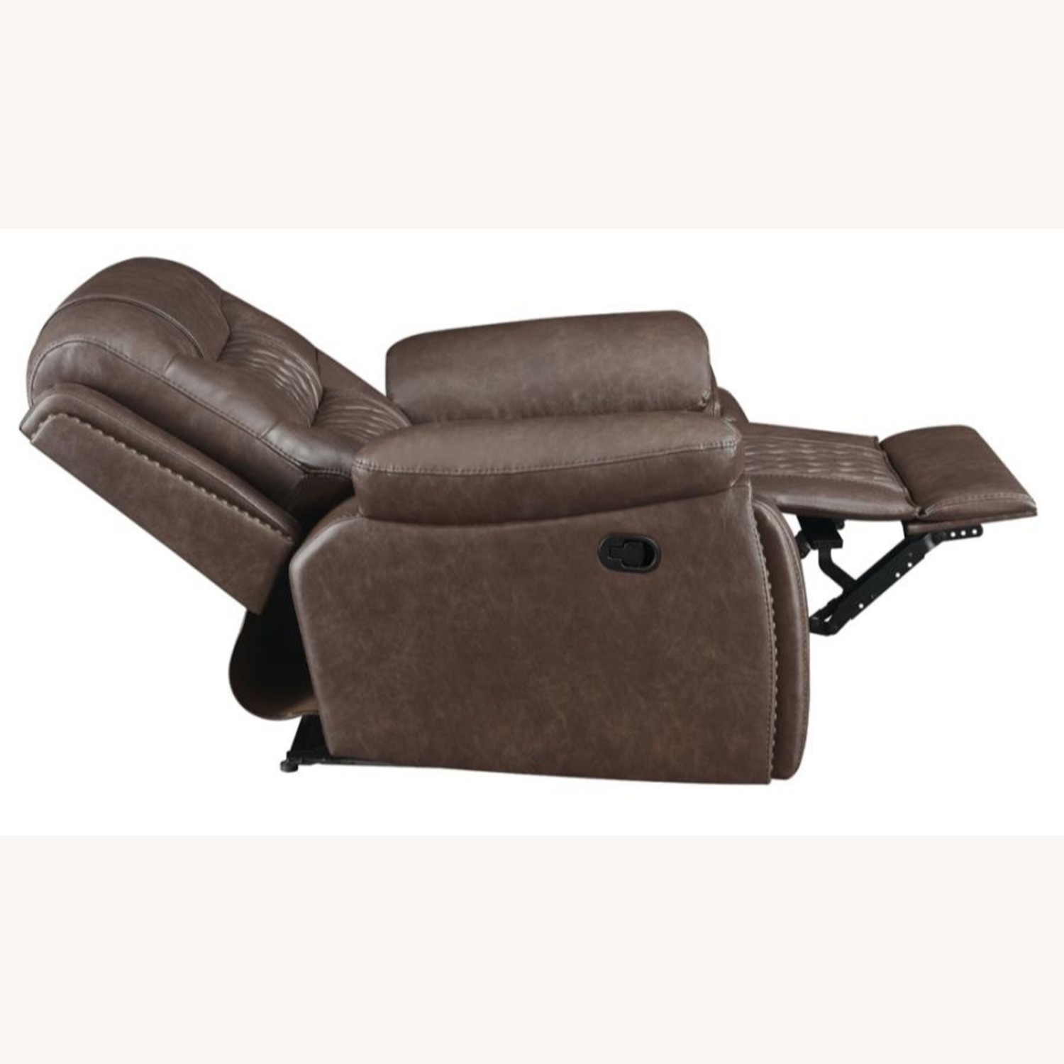Recliner In Comfortable Brown Performance Leather - image-2