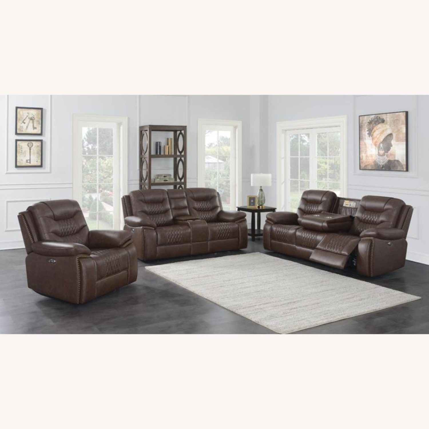Power Recliner Upholstered In Brown Leatherette - image-3