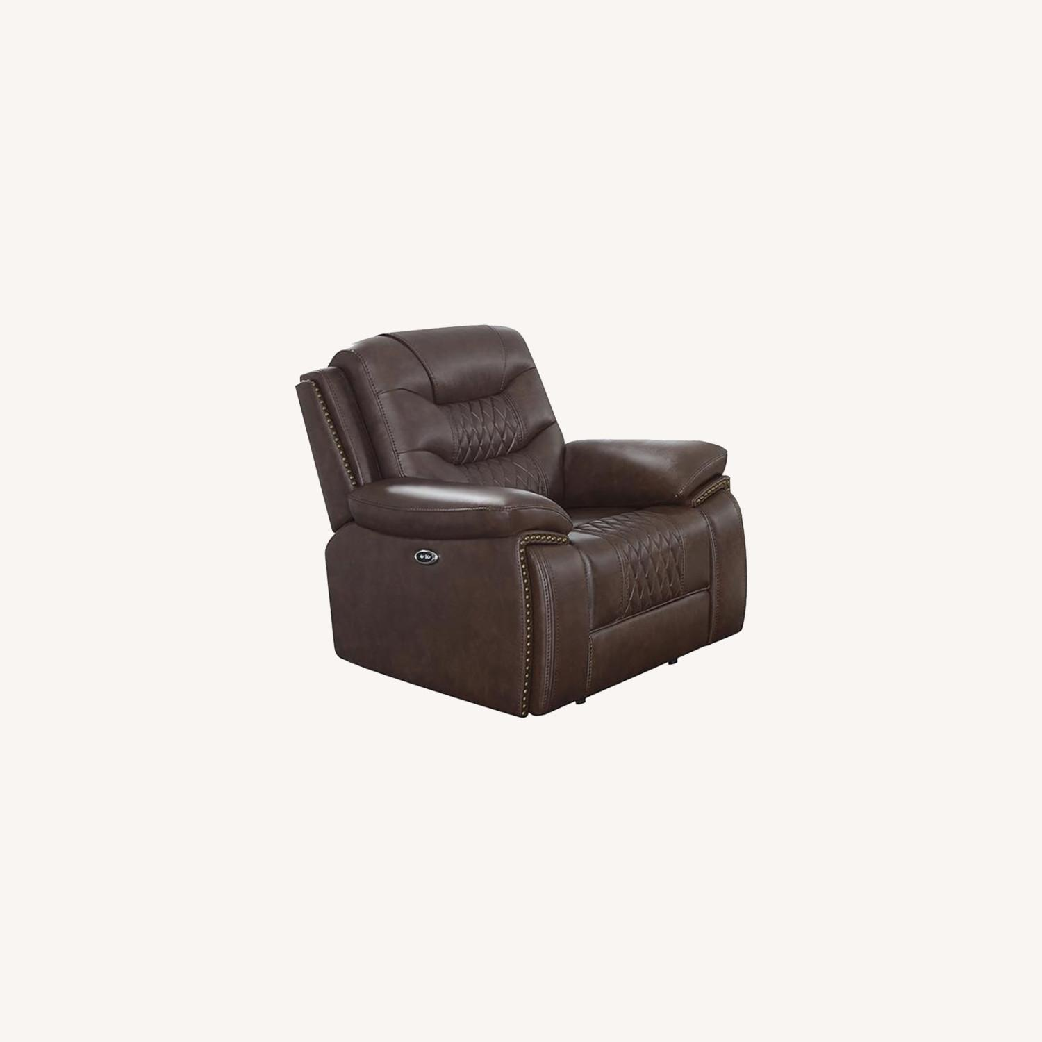 Power Recliner Upholstered In Brown Leatherette - image-5