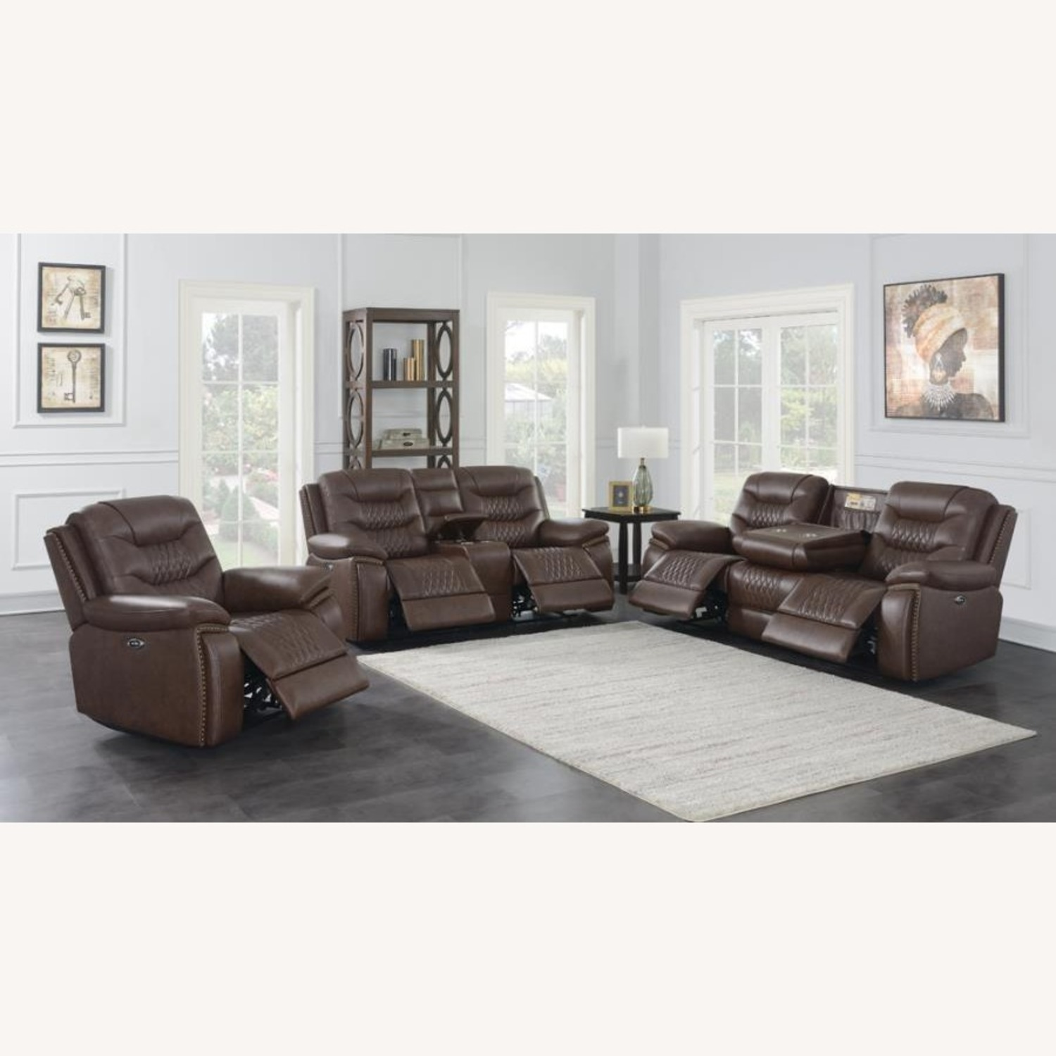 Power Recliner Upholstered In Brown Leatherette - image-4