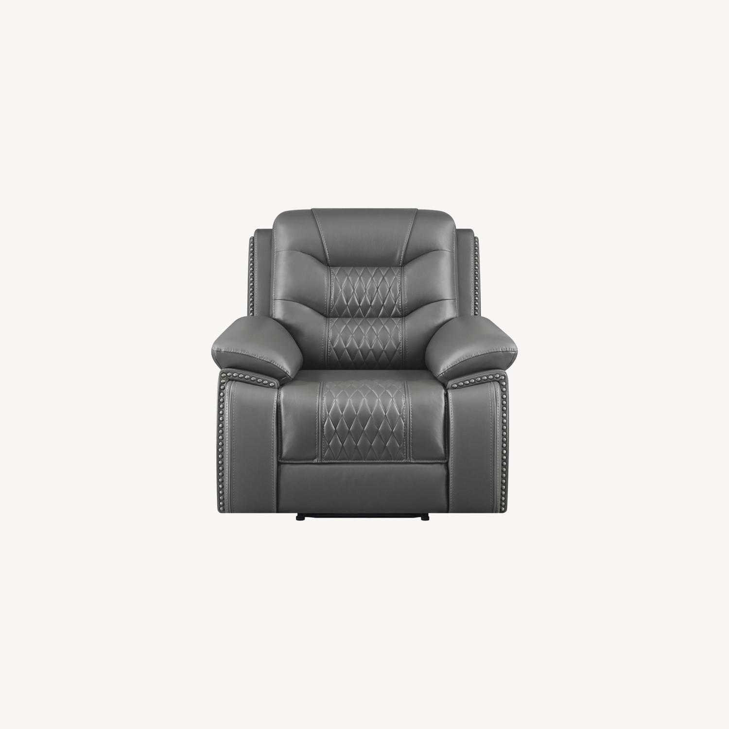 Recliner In Charcoal Performance Leatherette - image-8