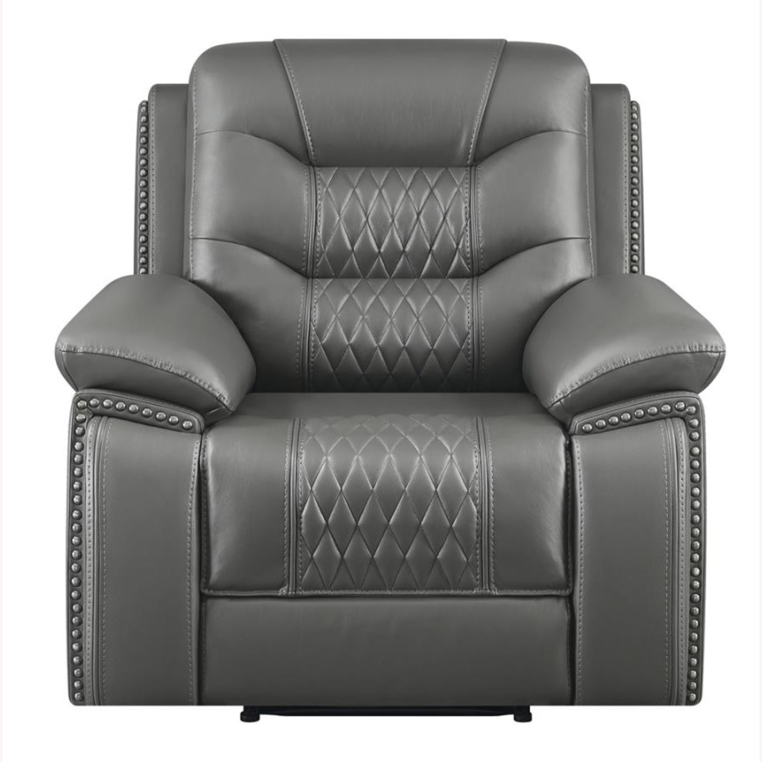 Recliner In Charcoal Performance Leatherette - image-2