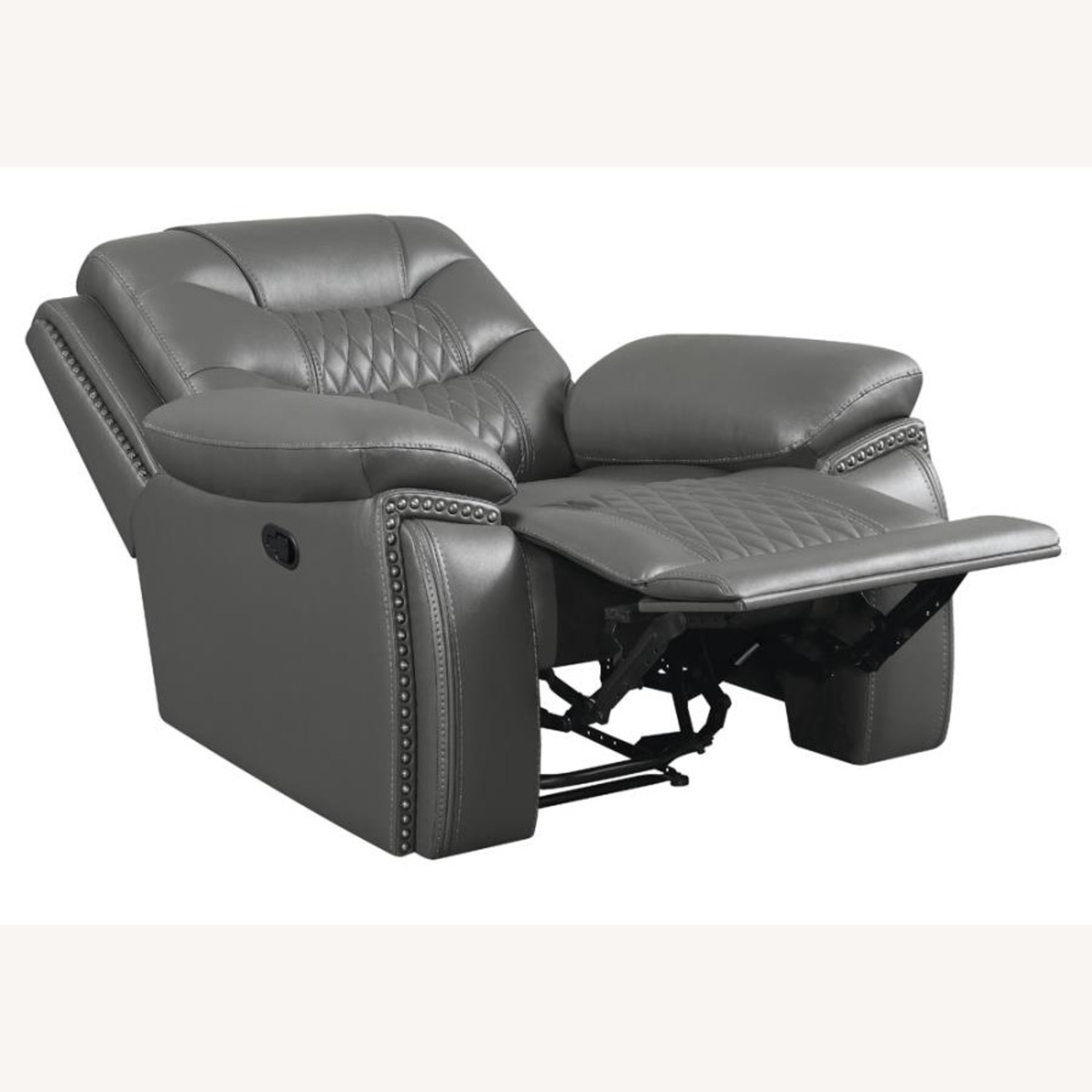 Recliner In Charcoal Performance Leatherette - image-1