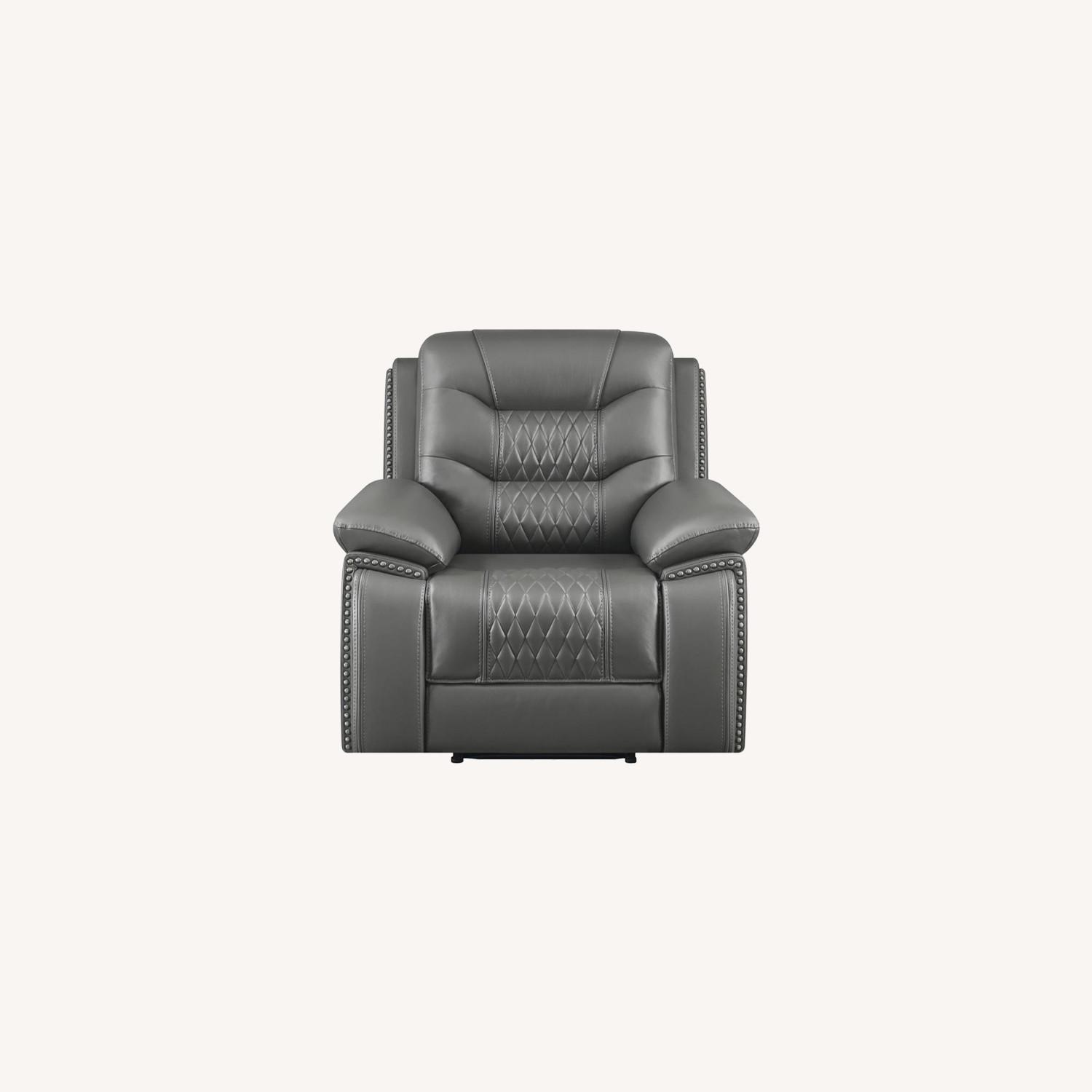 Power Recliner In Charcoal Performance Leatherette - image-7