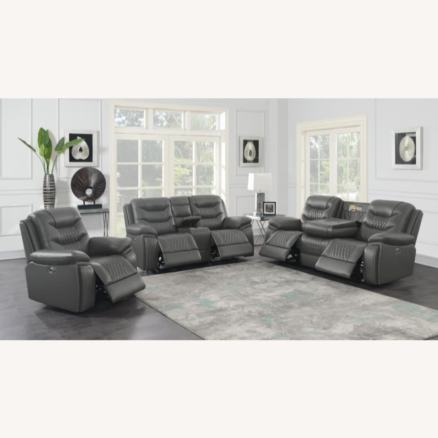 Power Recliner In Charcoal Performance Leatherette - image-6