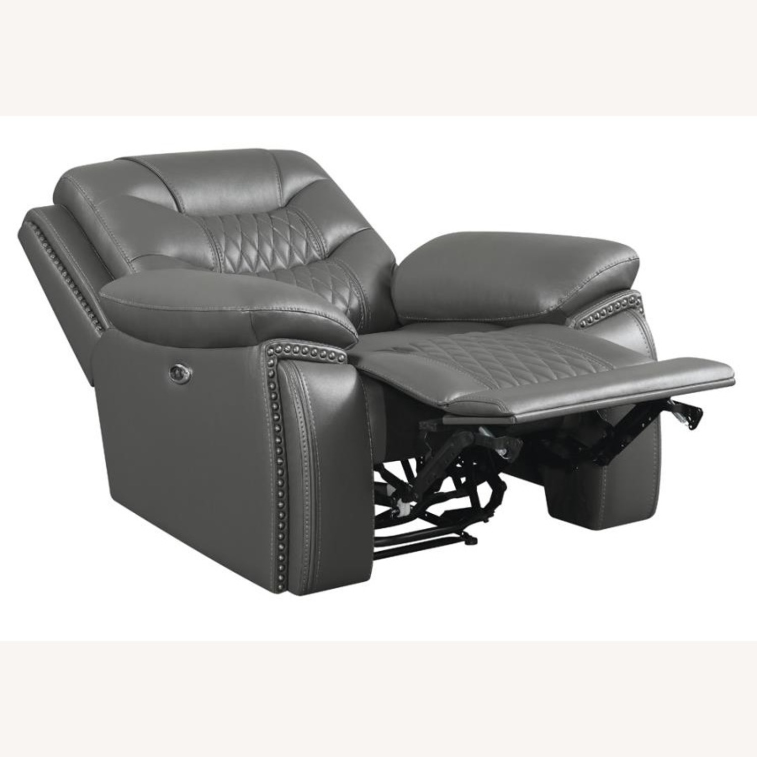 Power Recliner In Charcoal Performance Leatherette - image-1