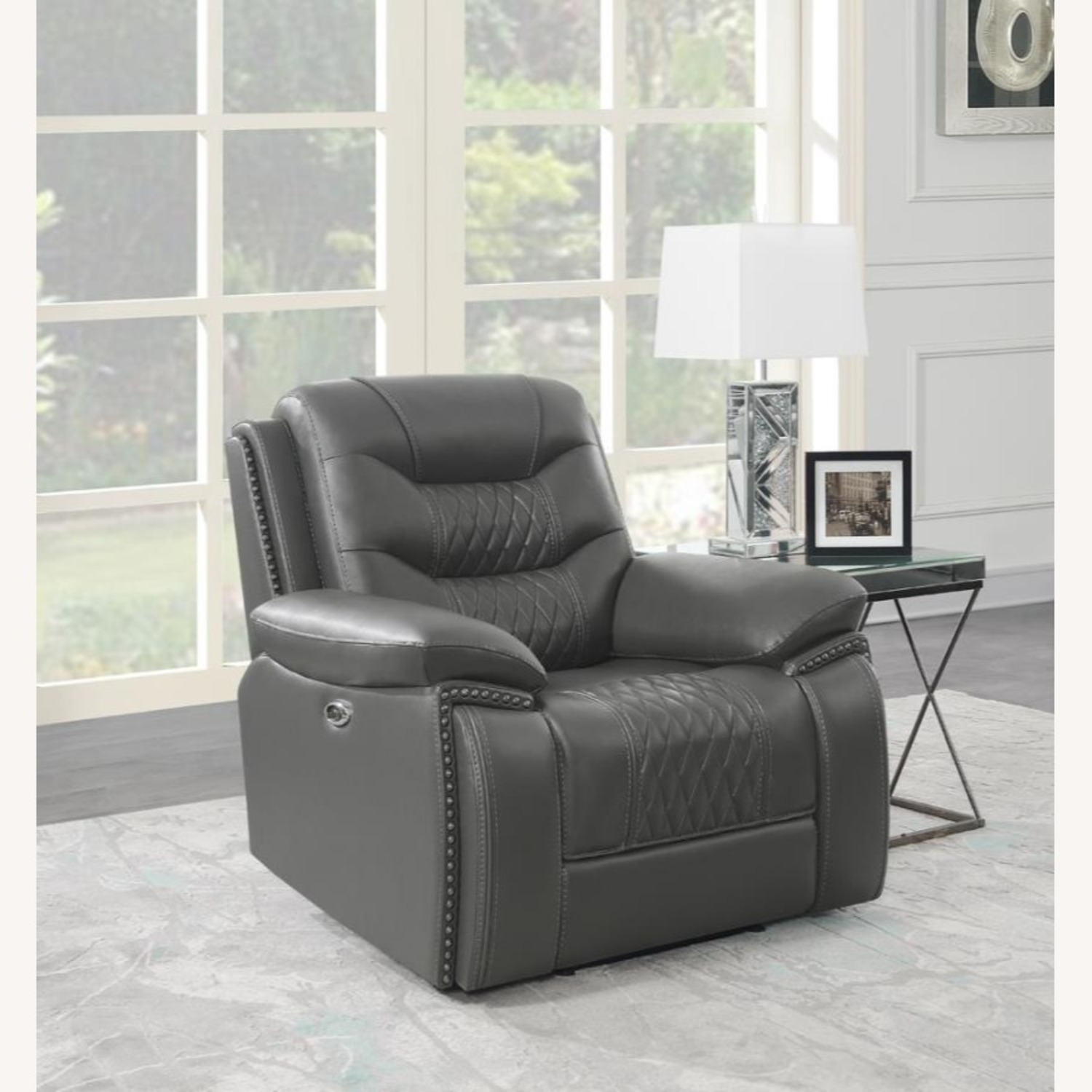 Power Recliner In Charcoal Performance Leatherette - image-5