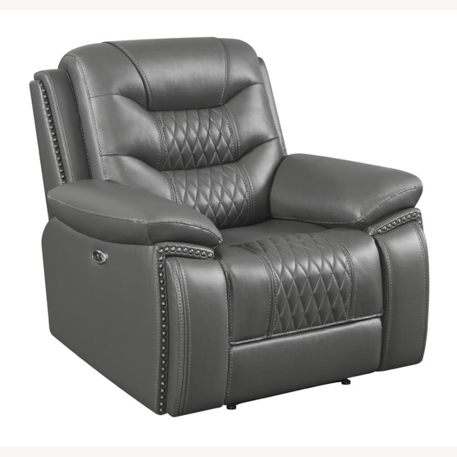 Power Recliner In Charcoal Performance Leatherette - image-0