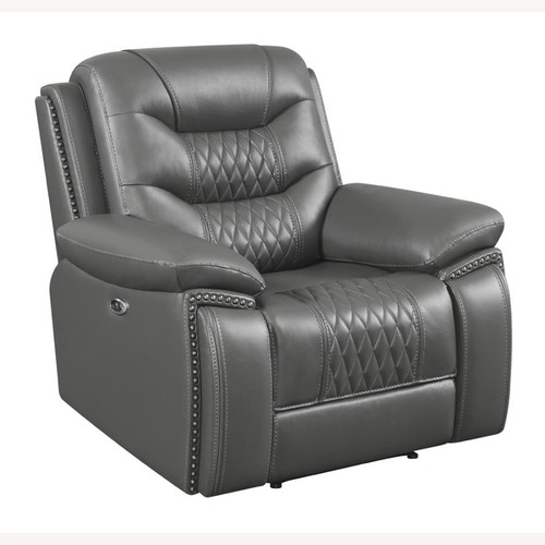 Used Power Recliner In Charcoal Performance Leatherette for sale on AptDeco