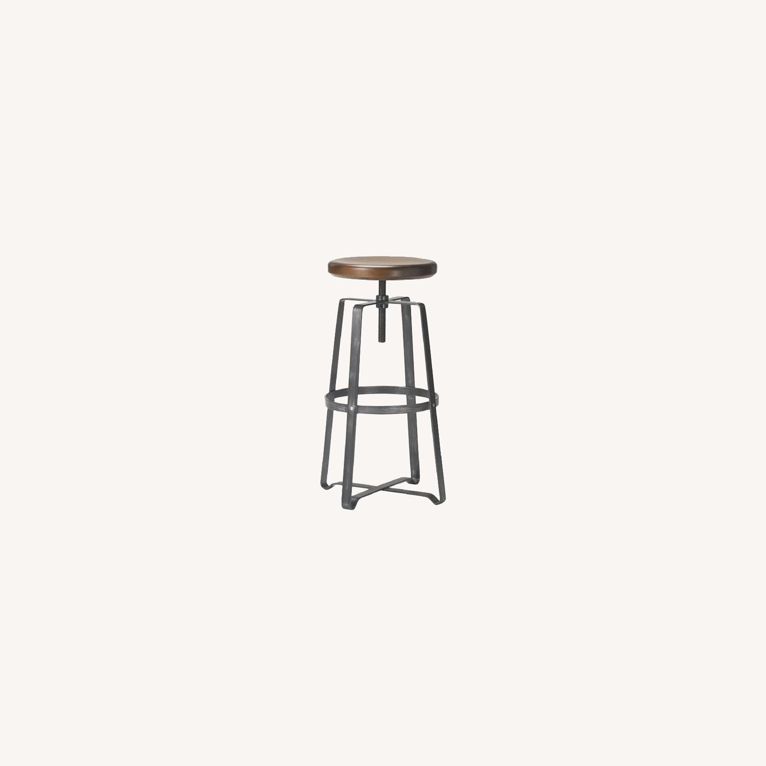 West Elm Adjustable Industrial Wood Counter Stool - image-0