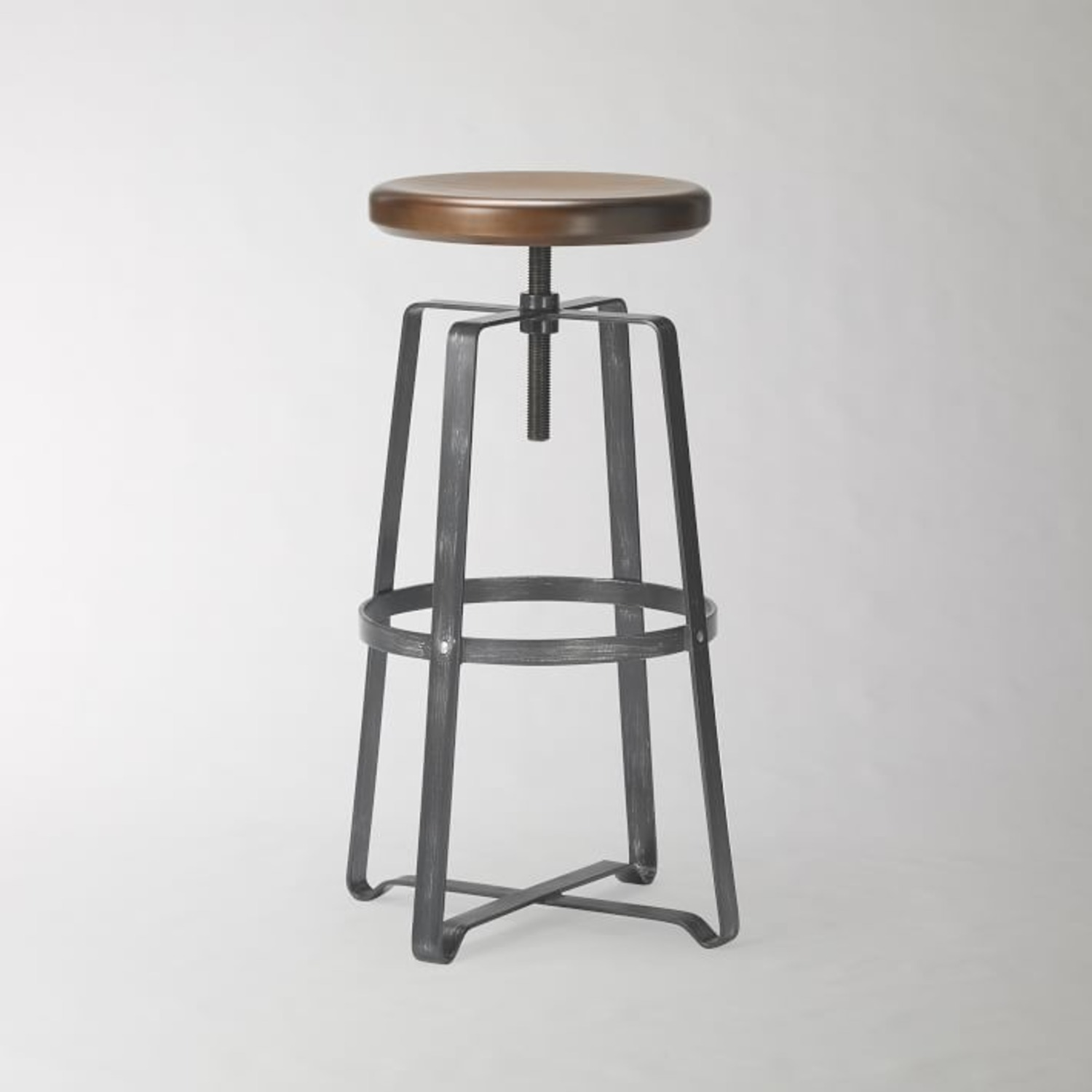 West Elm Adjustable Industrial Wood Counter Stool - image-2
