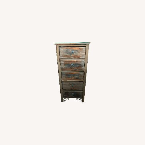 Used Distressed Dresser with Custom-Cut Glass Top for sale on AptDeco