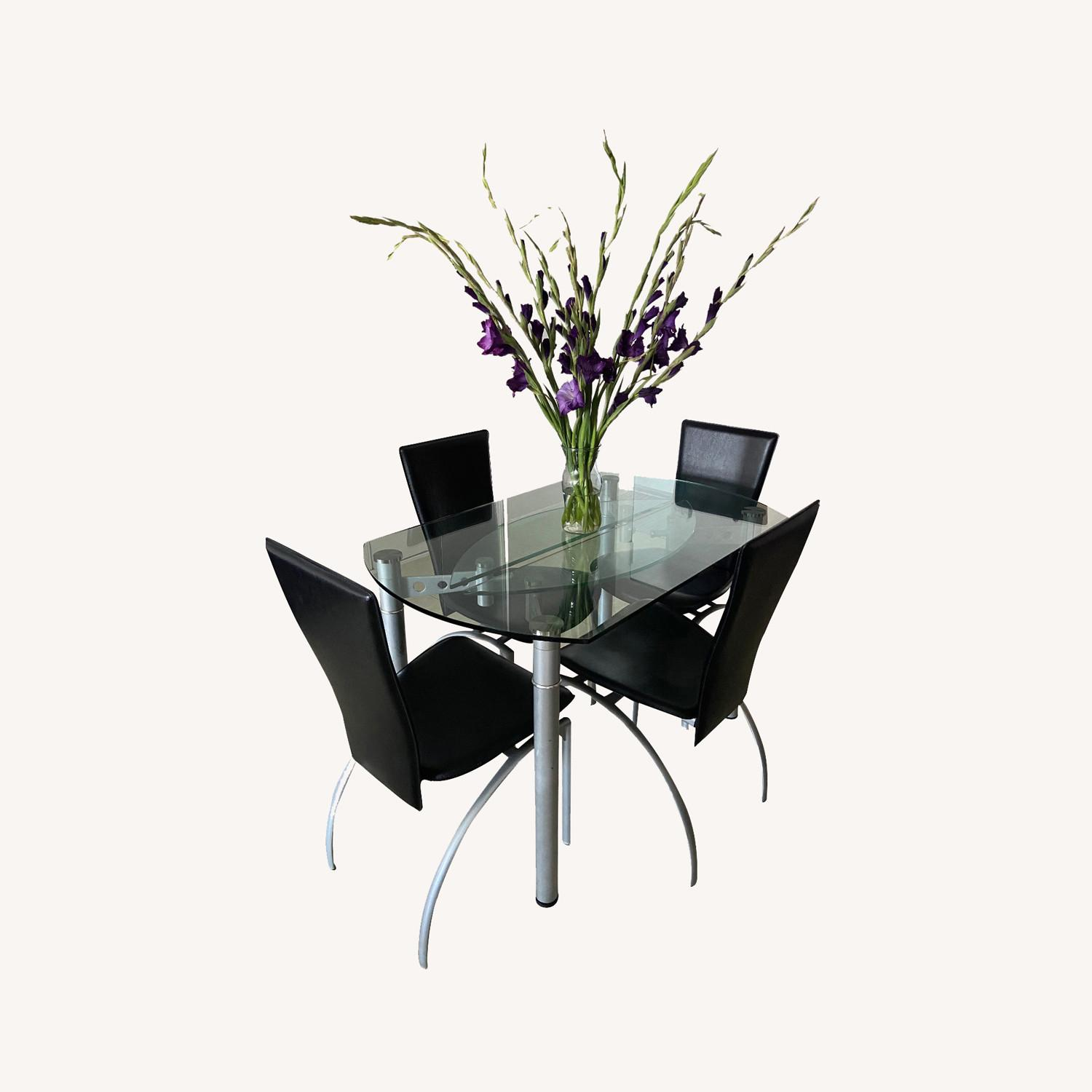 Glass Dining Table with 4 Chairs - image-0