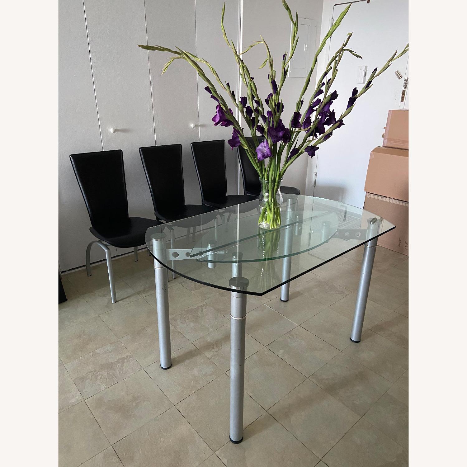 Glass Dining Table with 4 Chairs - image-28