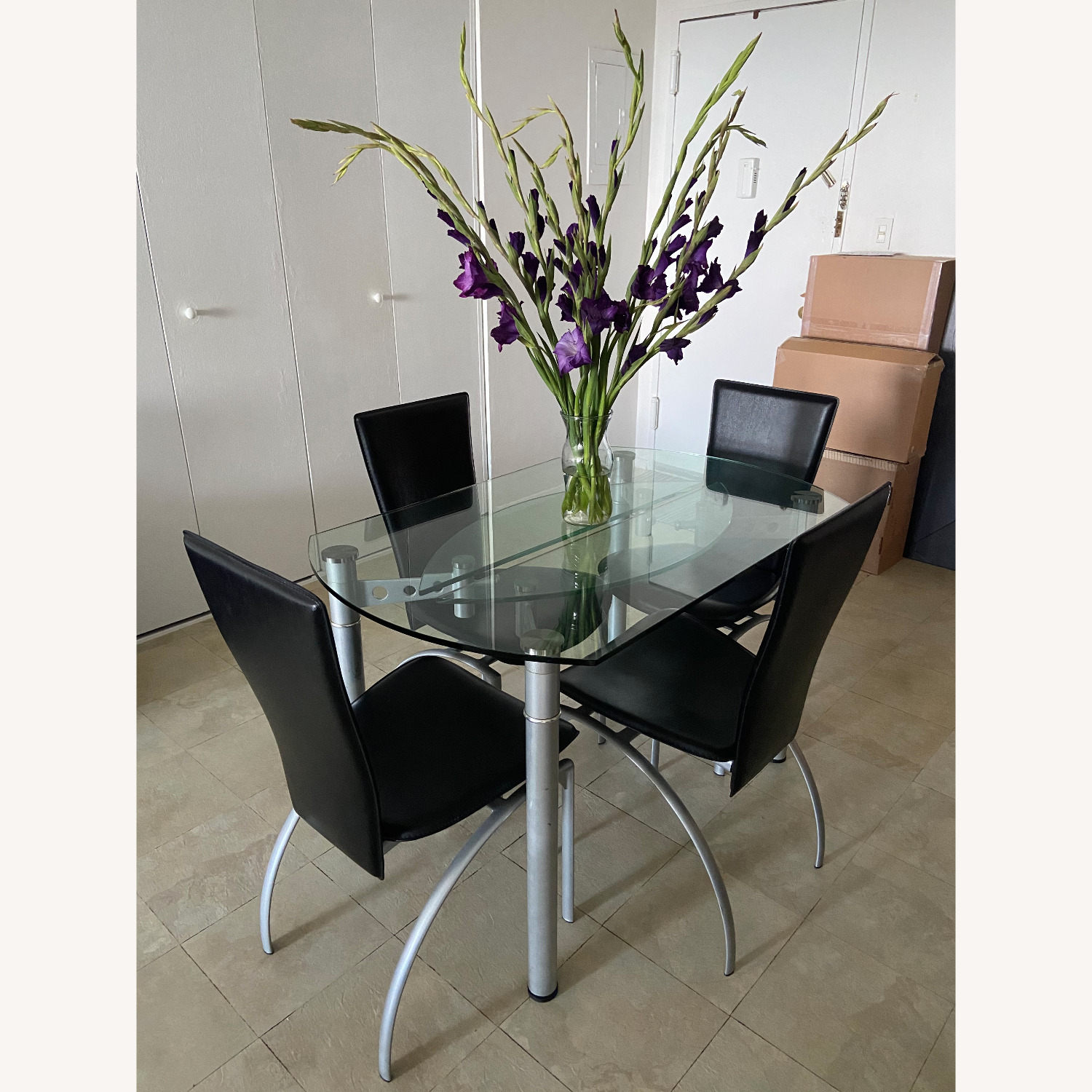 Glass Dining Table with 4 Chairs - image-1