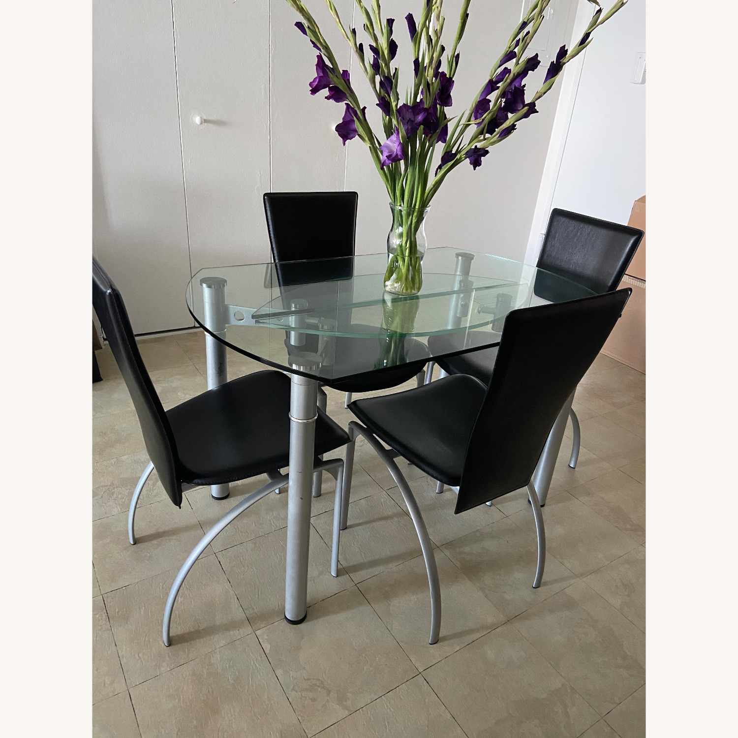 Glass Dining Table with 4 Chairs - image-2