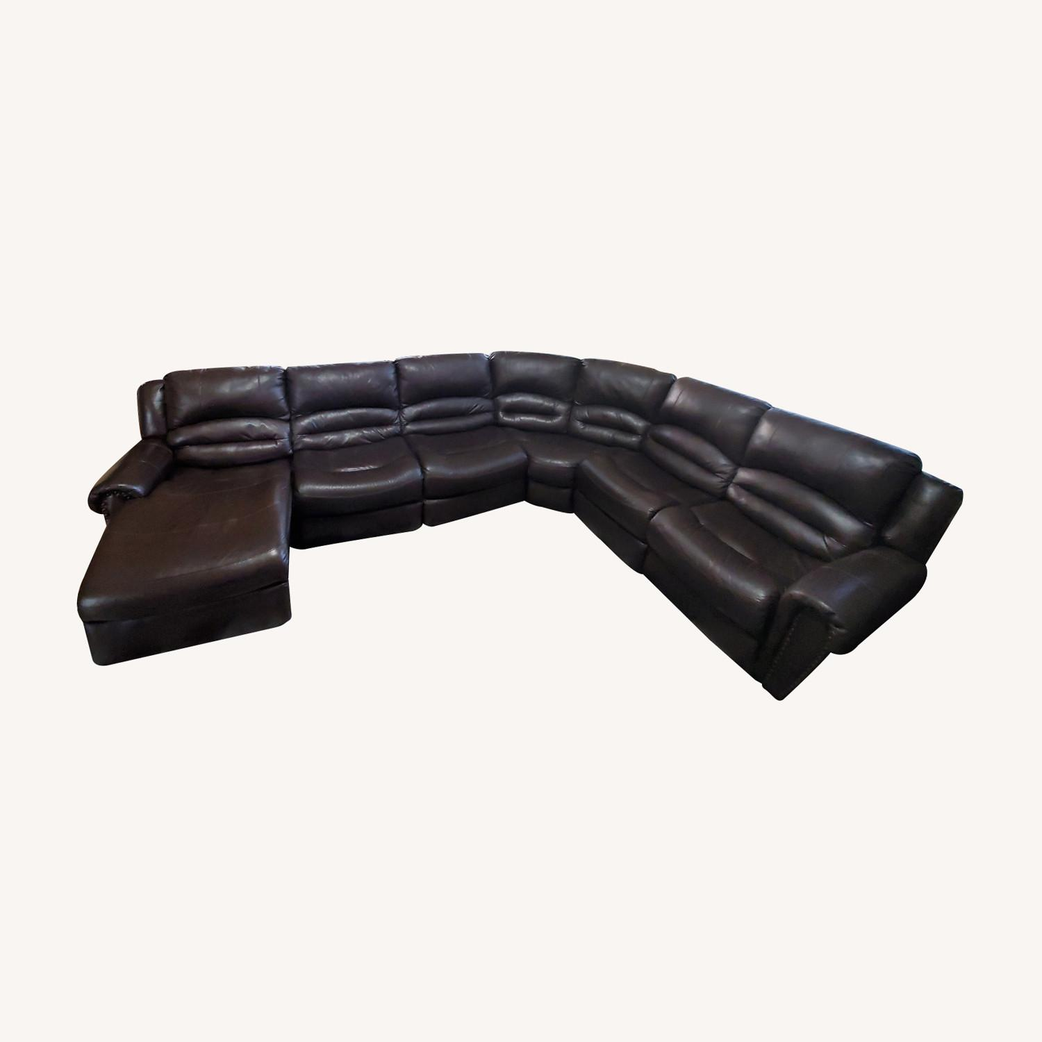 Power Reclining Leather Couch with Chaise - image-0