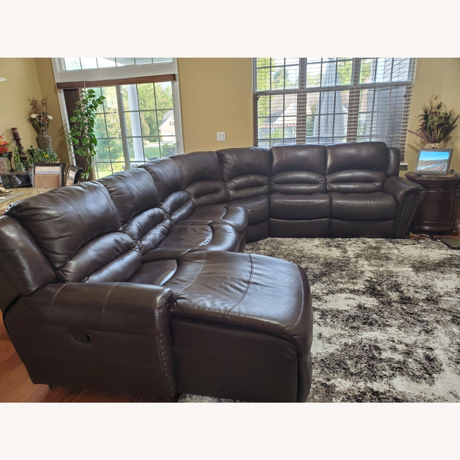 Power Reclining Leather Couch with Chaise - image-3