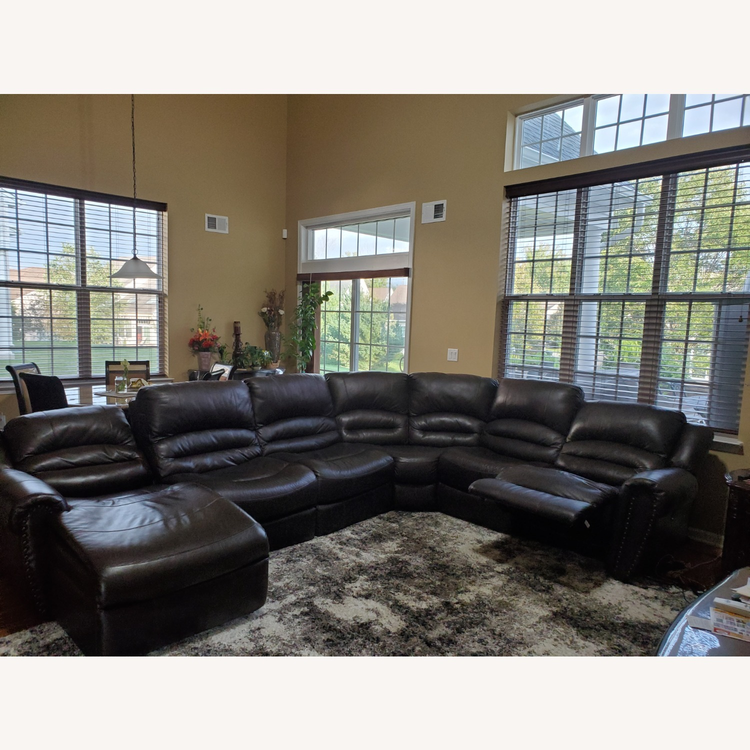 Power Reclining Leather Couch with Chaise - image-5