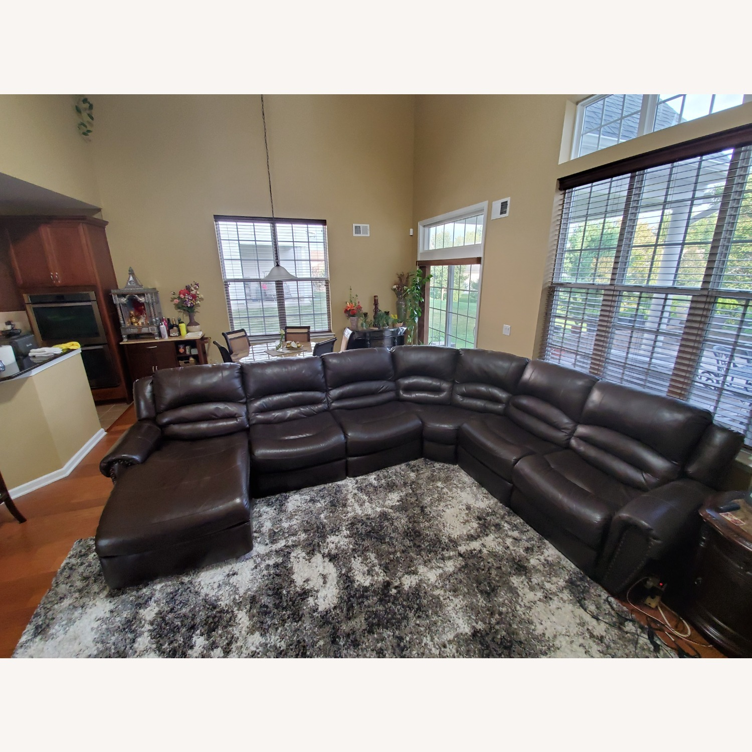 Power Reclining Leather Couch with Chaise - image-1