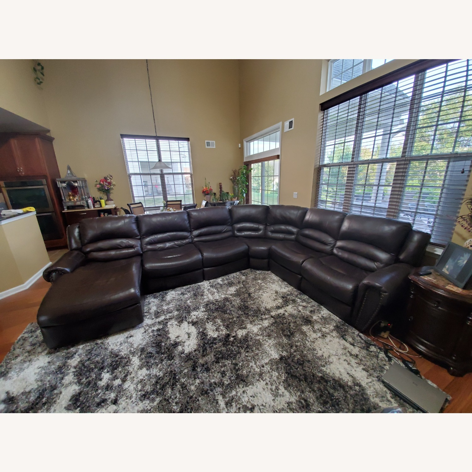 Power Reclining Leather Couch with Chaise - image-2