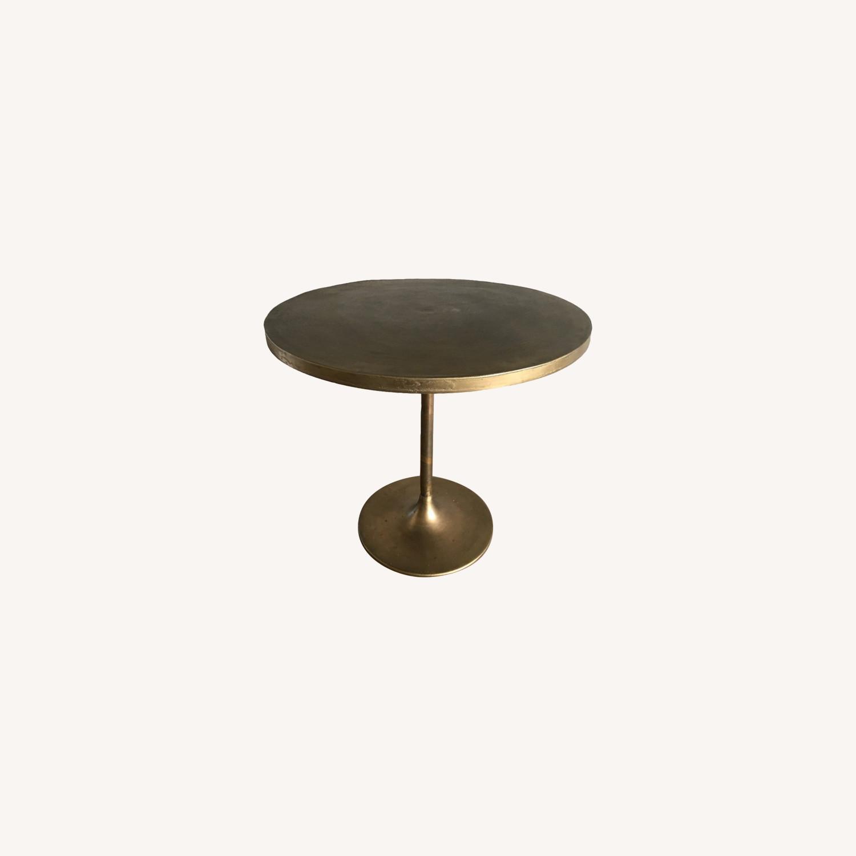 Antiqued Brass Finish Metal Bistro Table - image-0