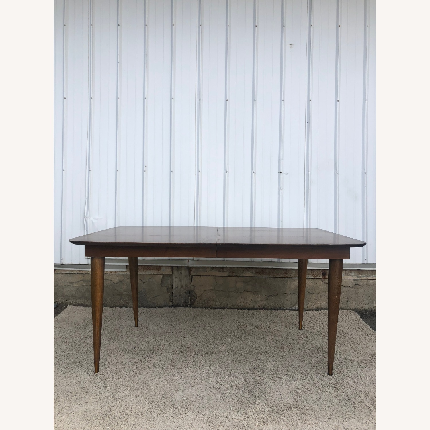 Mid Century Walnut Dining Table with One Leaf - image-1