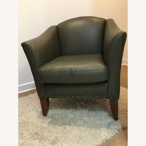 Used Pair of Smaller Green Leather Club Chairs for sale on AptDeco