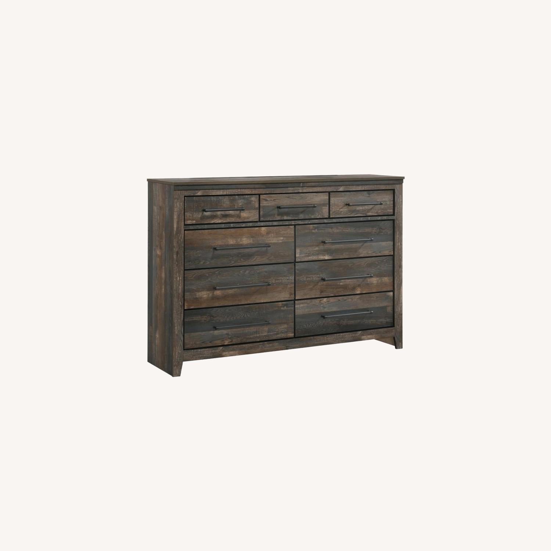 9-Drawer Dresser In Weathered Dark Brown - image-5