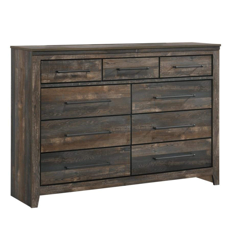 9-Drawer Dresser In Weathered Dark Brown - image-0