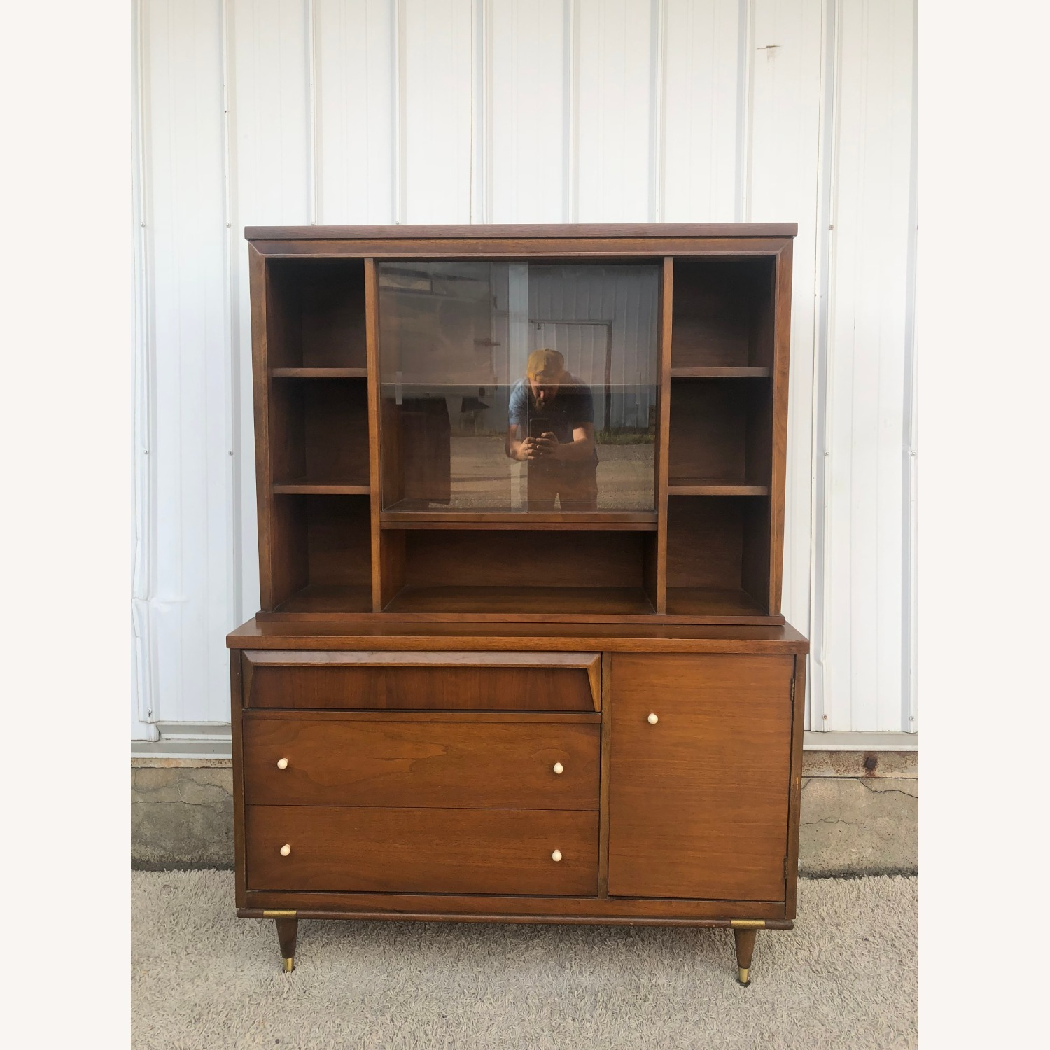 Mid Century Two Piece China Cabinet - image-9