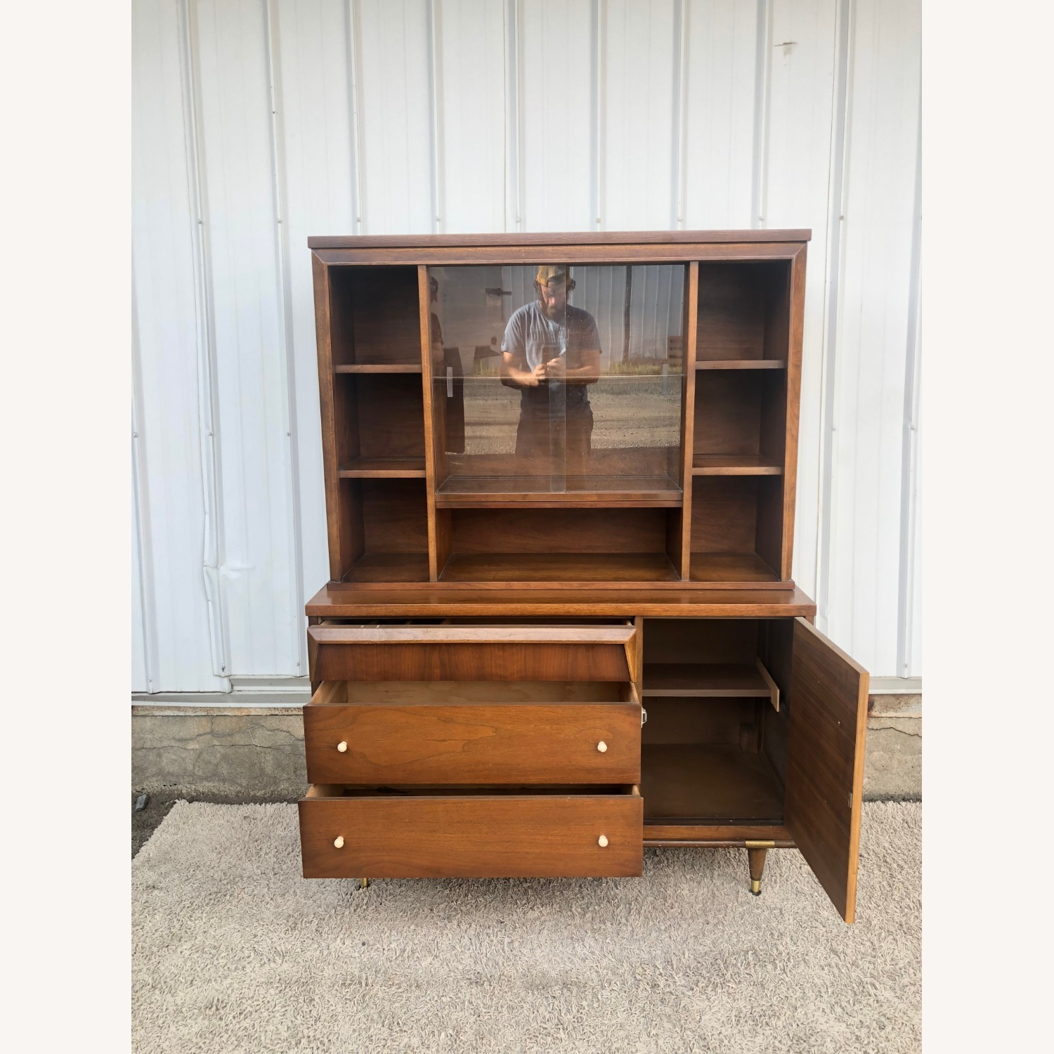 Mid Century Two Piece China Cabinet - image-20