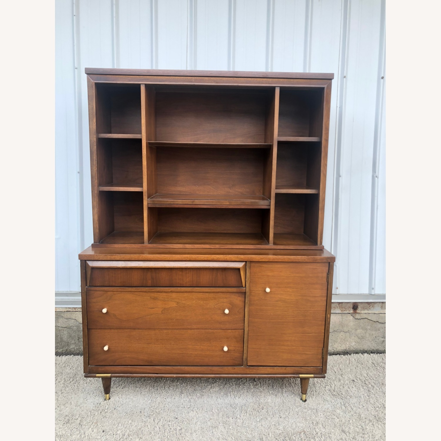 Mid Century Two Piece China Cabinet - image-21
