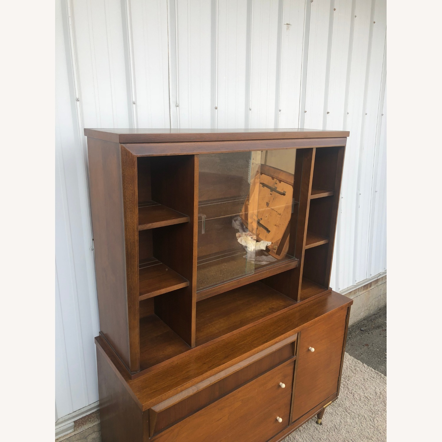 Mid Century Two Piece China Cabinet - image-11