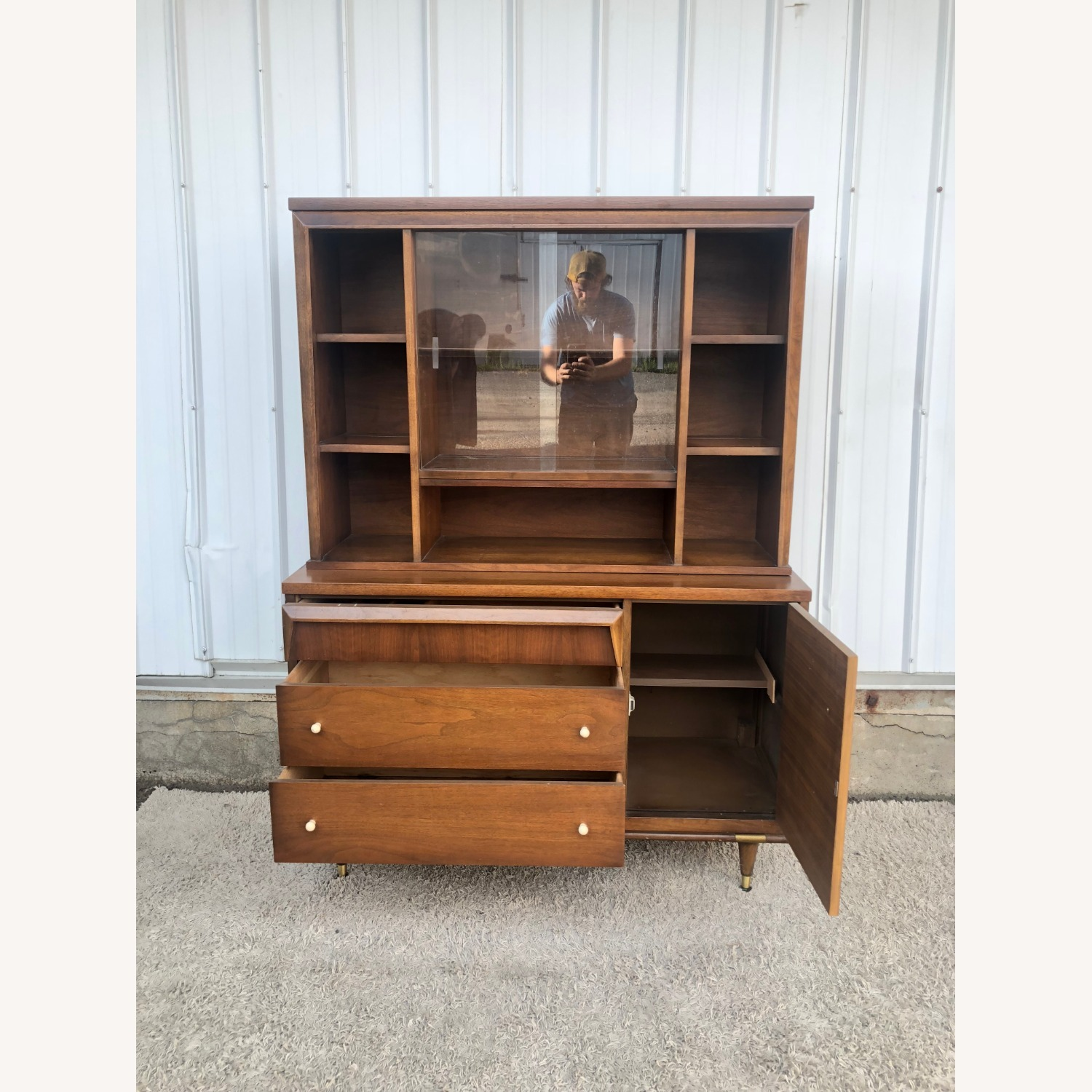 Mid Century Two Piece China Cabinet - image-19