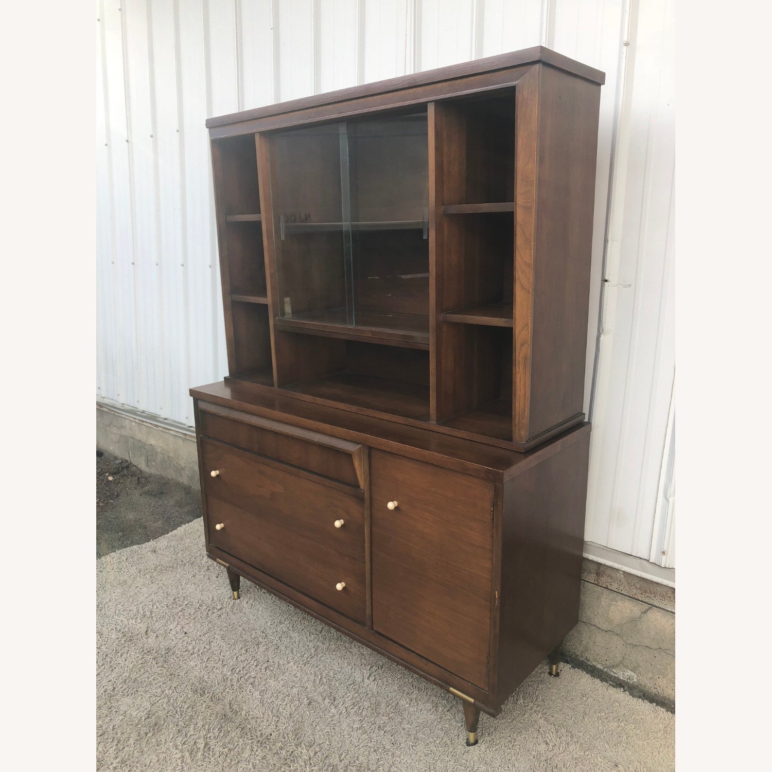 Mid Century Two Piece China Cabinet - image-10