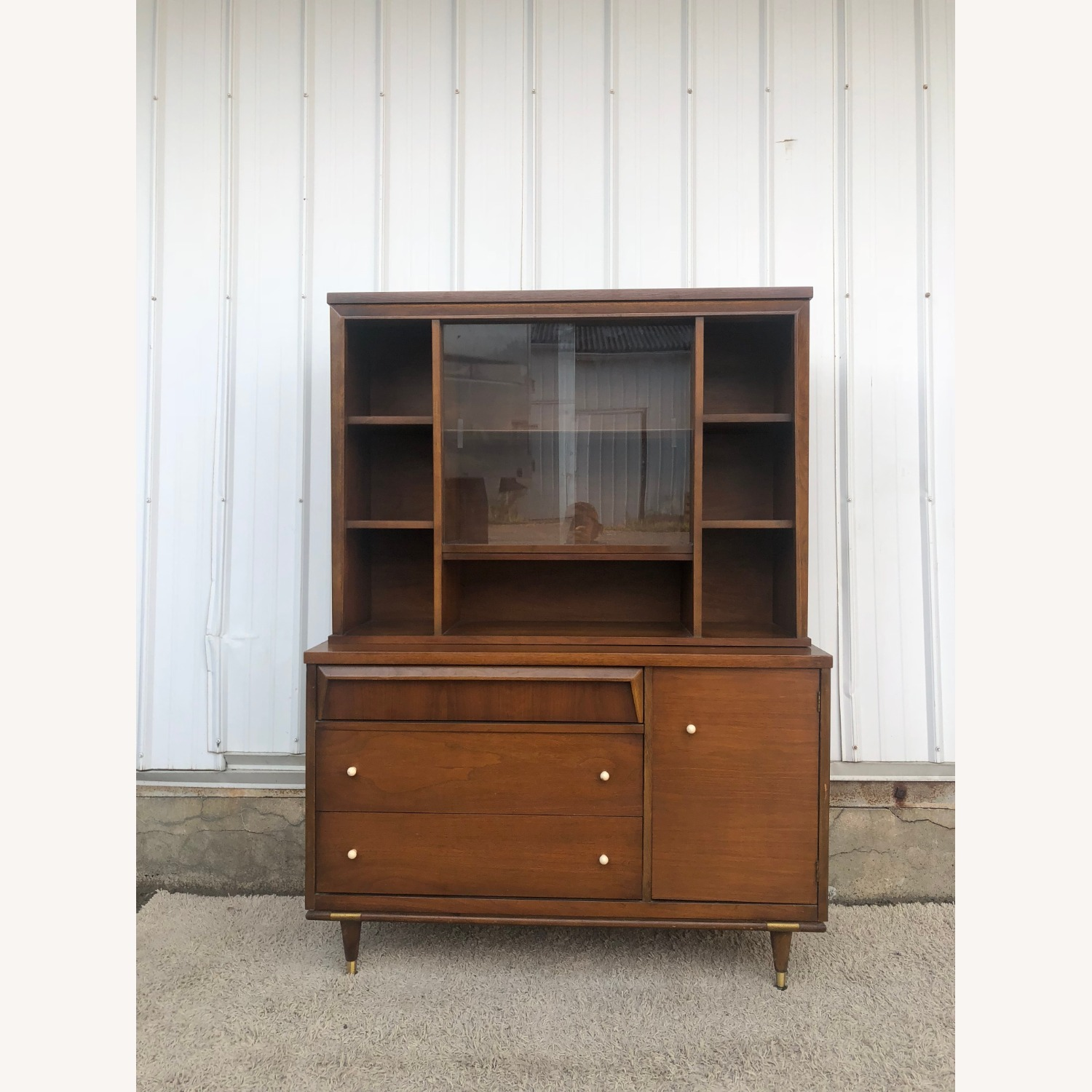 Mid Century Two Piece China Cabinet - image-0