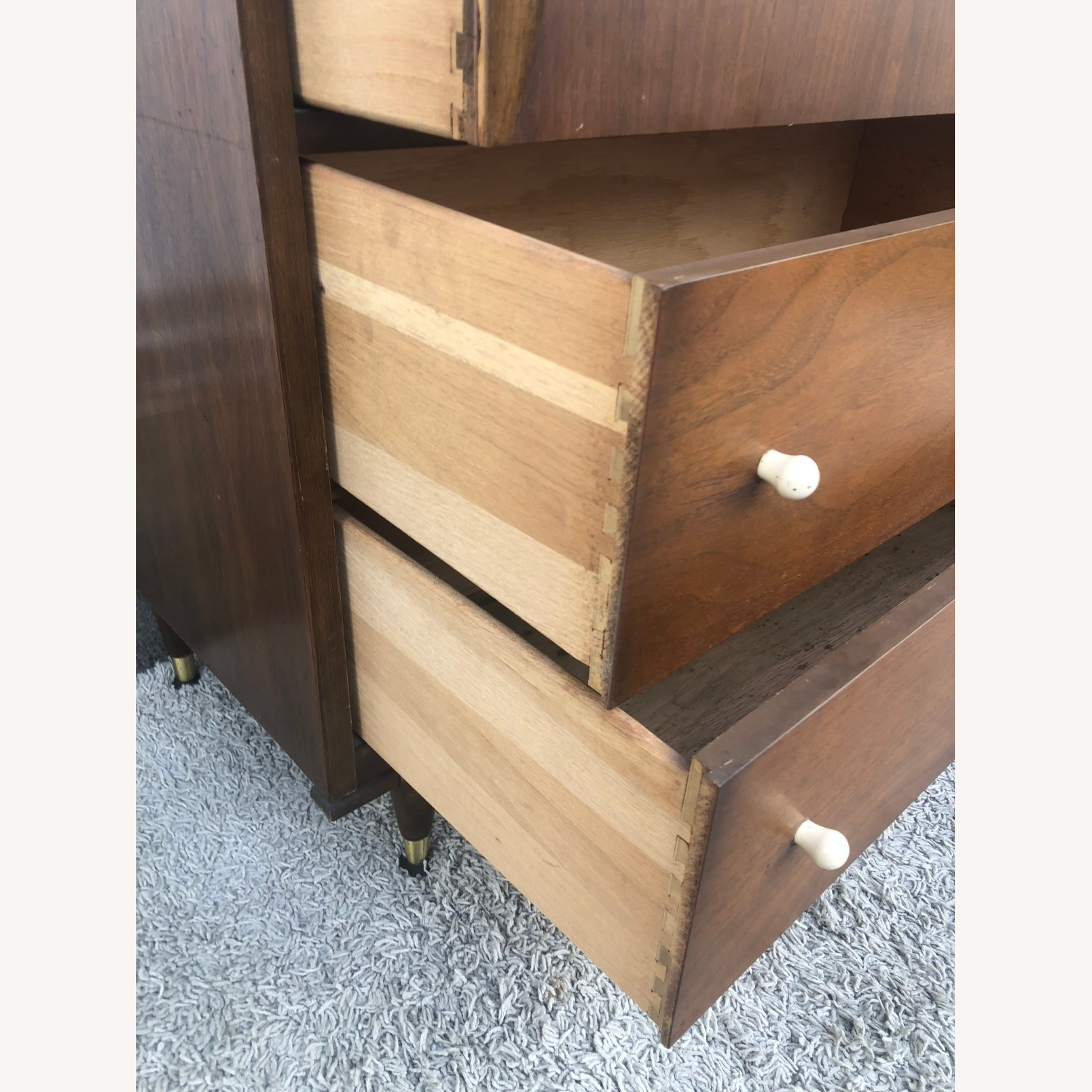 Mid Century Two Piece China Cabinet - image-1