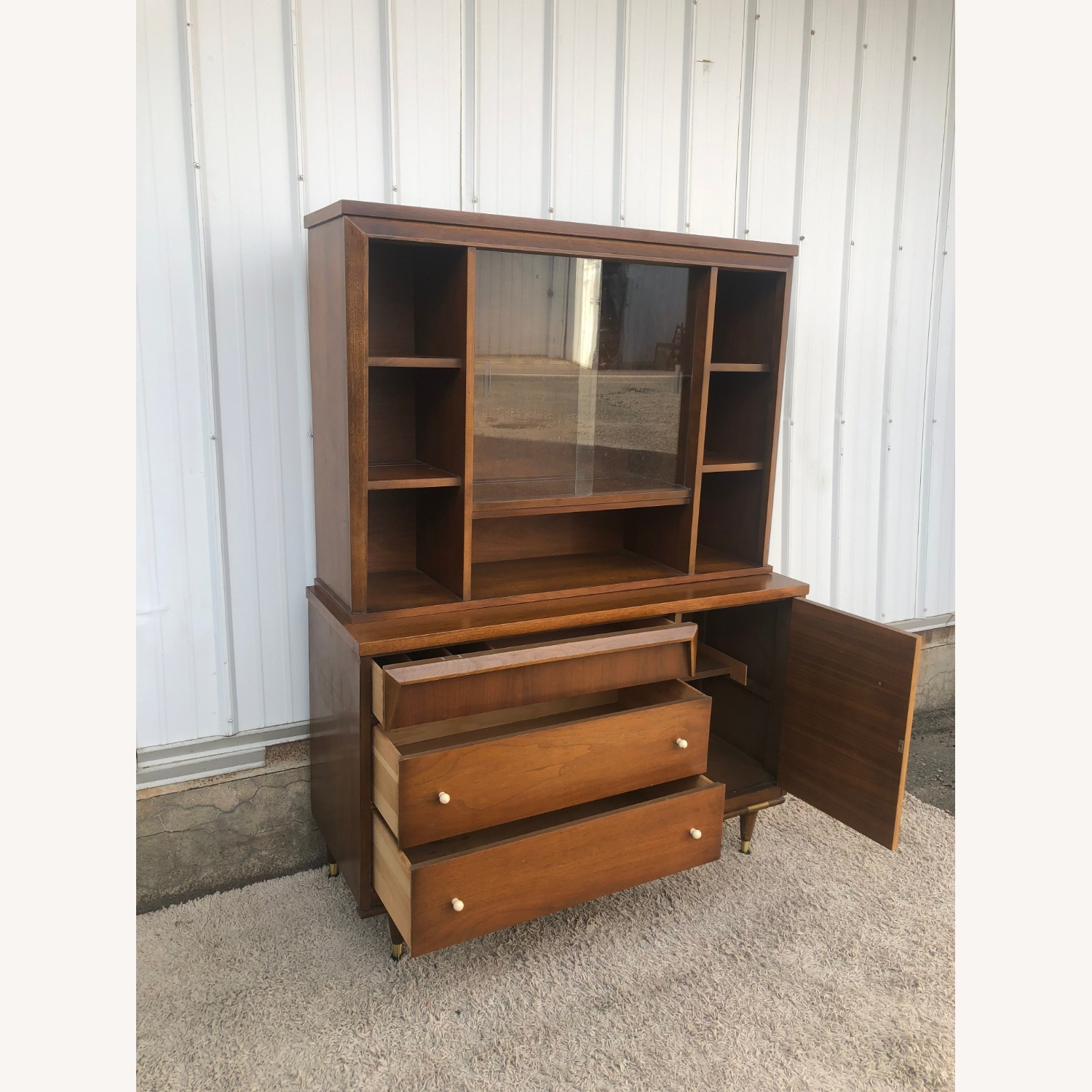 Mid Century Two Piece China Cabinet - image-22