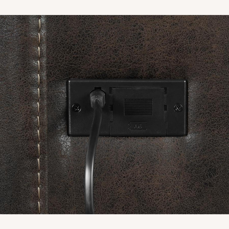 Power Loveseat In Chocolate & Dark Brown Finish - image-8