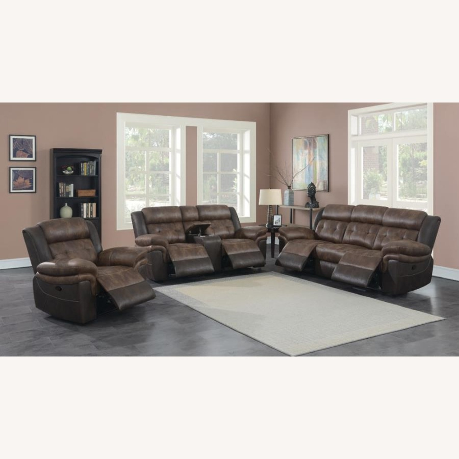 Recliner In Chocolate & Dark Brown Upholstery - image-8